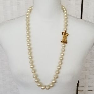 Kate Spade Large Pearl Necklace Long Strand Bow